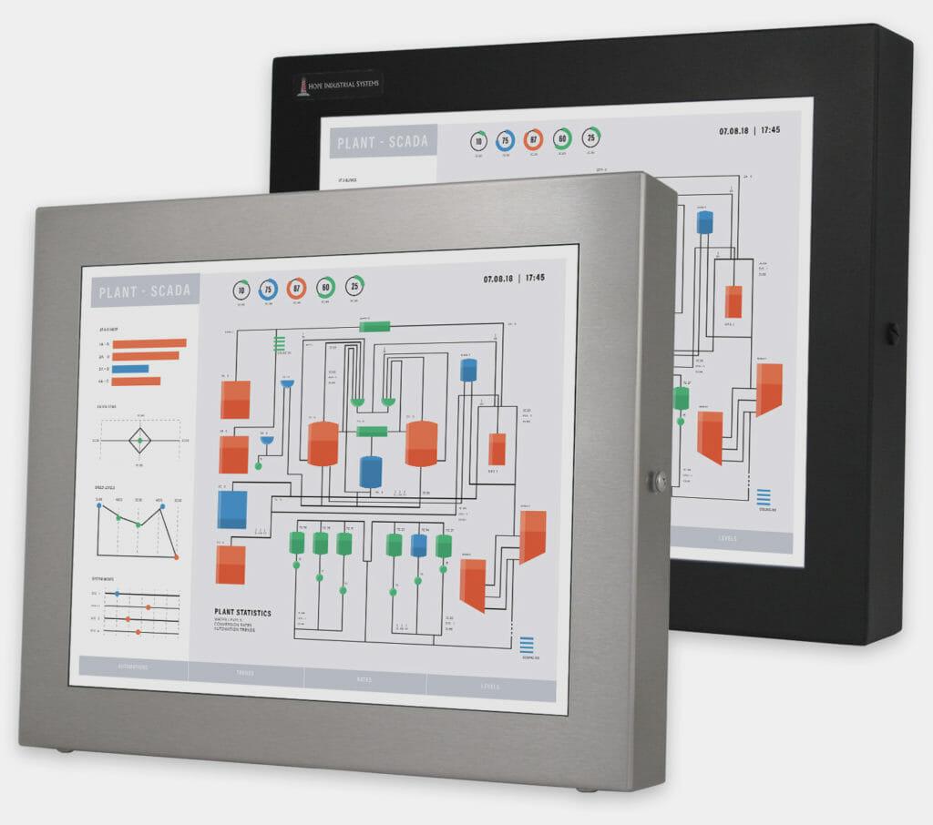 """Monitor industriali da 17"""" per montaggio universale e touchscreen rugged IP65/IP66, veduta anteriore"""