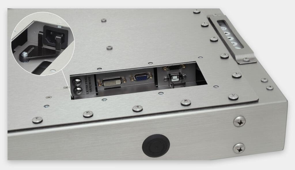 """Monitor industriali da 19"""" per montaggio universale e touchscreen rugged IP65/IP66, veduta dell'uscita cavi CA"""