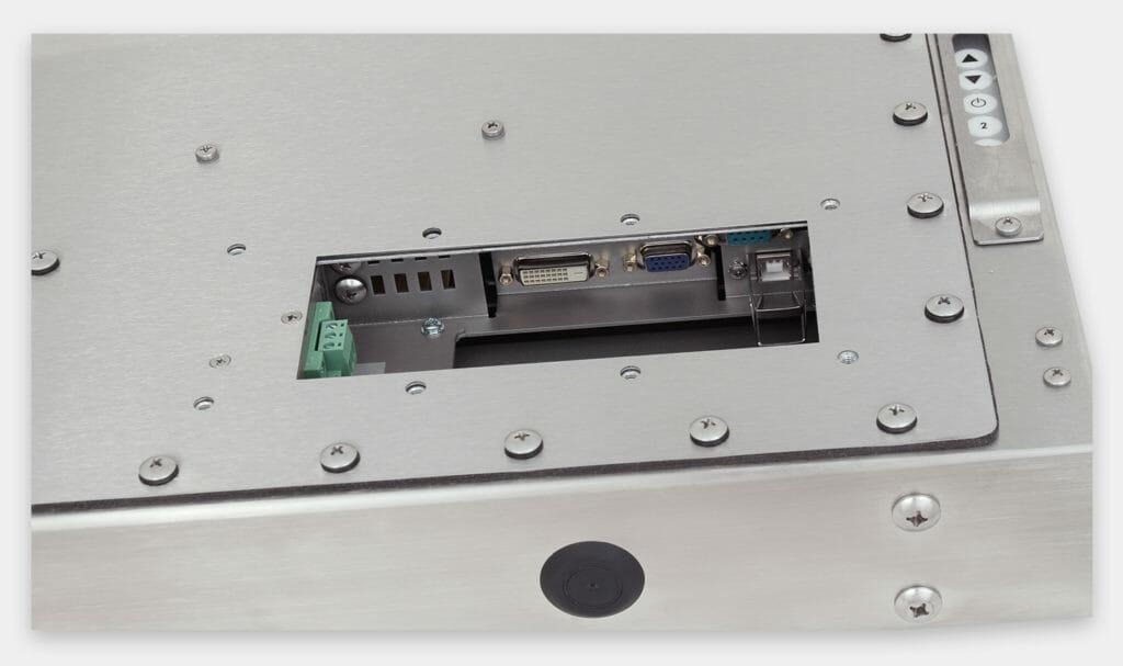 """Monitor industriali da 19"""" per montaggio universale e touchscreen rugged IP65/IP66, veduta dell'uscita cavi CC"""
