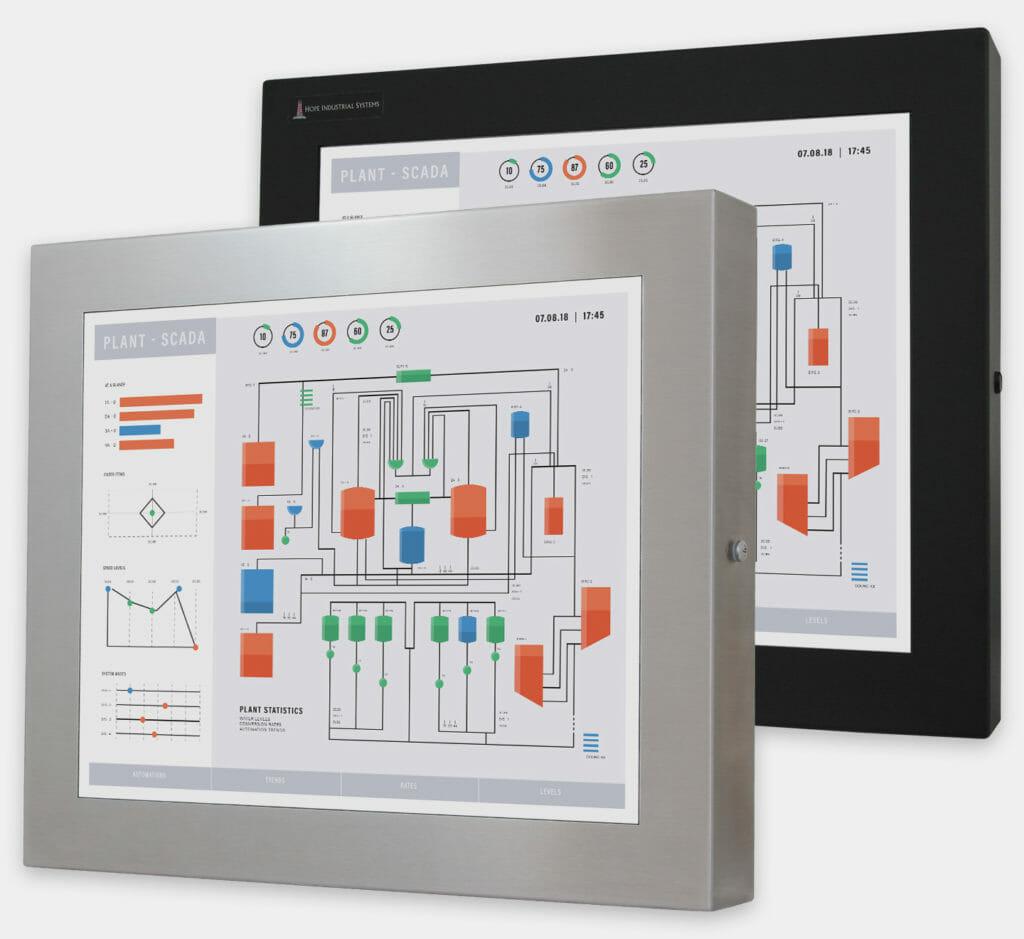 """Monitor industriali da 19"""" per montaggio universale e touchscreen rugged IP65/IP66, veduta anteriore"""
