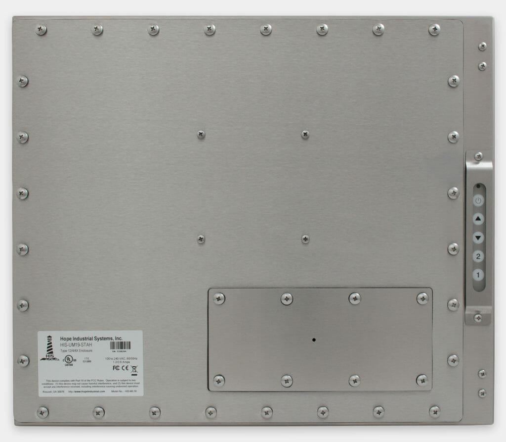 """Monitor industriali da 19"""" per montaggio universale e touchscreen rugged IP65/IP66, veduta posteriore"""