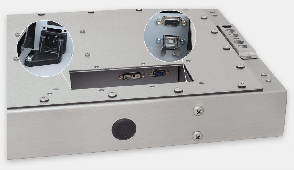 """Monitor industriali da 23"""" formato widescreen per montaggio universale e touchscreen rugged IP65/IP66, veduta dell'uscita cavi CA"""