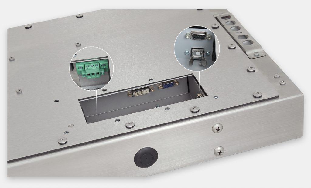 """Monitor industriali da 23"""" formato widescreen per montaggio universale e touchscreen rugged IP65/IP66, veduta dell'uscita cavi CC"""