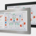 """Monitor industriali da 23"""" formato widescreen per montaggio universale e touchscreen rugged IP65/IP66, veduta anteriore"""