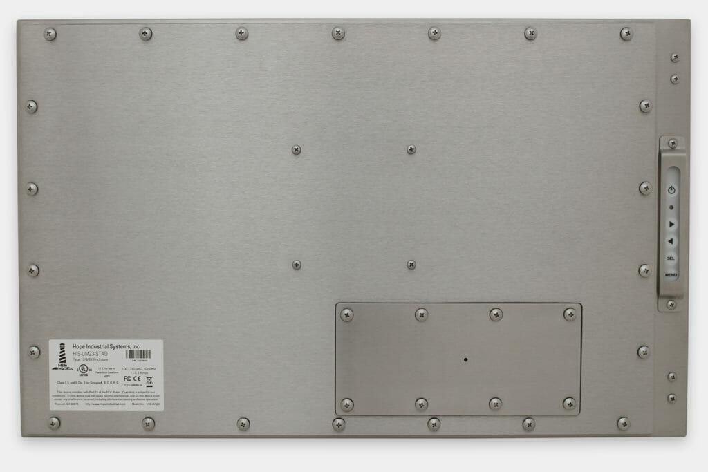 """Monitor industriali da 23"""" formato widescreen per montaggio universale e touchscreen rugged IP65/IP66, veduta posteriore"""