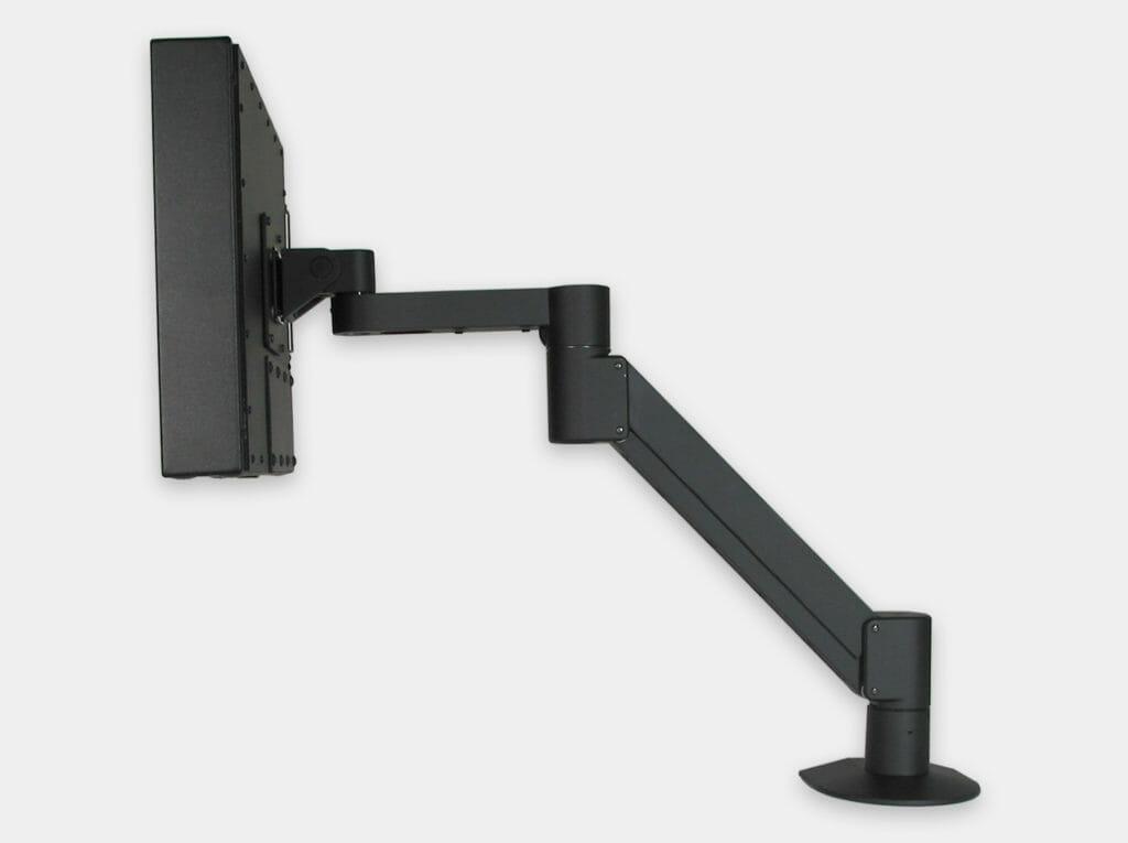 Braccio radiale VESA per monitor industriali, veduta laterale con monitor