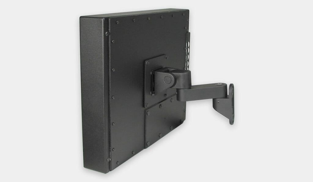 Staffa per montaggio a parete VESA per monitor industriali, veduta laterale con monitor montato