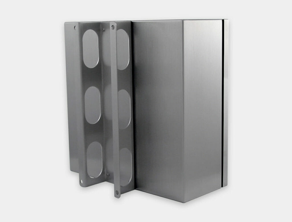 Staffa di montaggio a parete per enclosure industriali per thin client e piccoli PC, acciaio inossidabile
