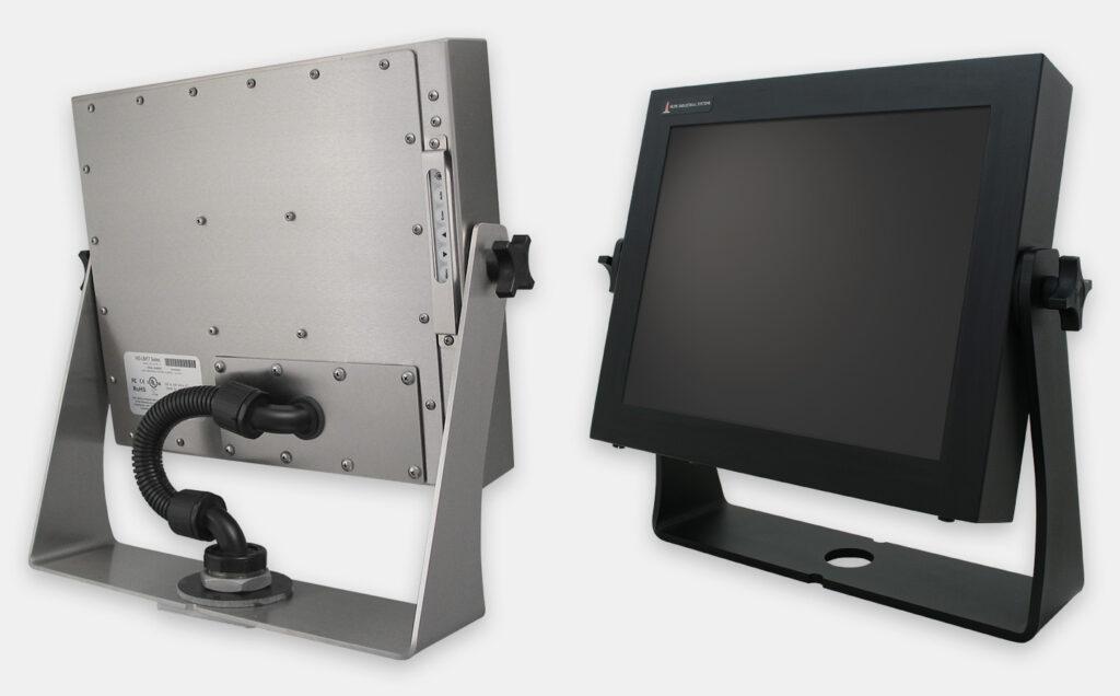 Staffe a forcella industriali per montaggio su banco per monitor, per montaggio universale, grado di protezione IP65/IP66, acciaio inossidabile e acciaio al carbonio nero