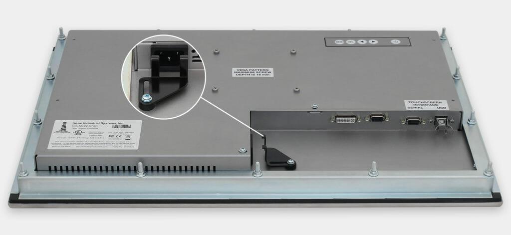 """Monitor industriali da 22"""" formato widescreen per montaggio a pannello e touchscreen rugged IP65/IP66, veduta dell'uscita cavi CA"""