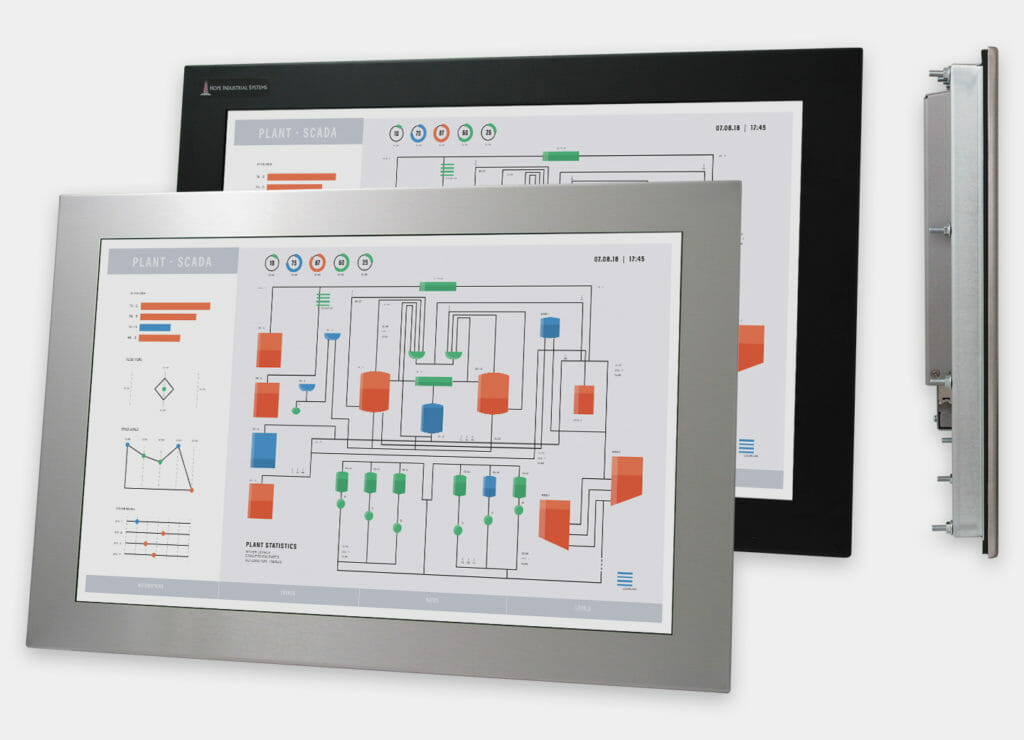 """Monitor industriali da 22"""" formato widescreen per montaggio a pannello e touchscreen rugged IP65/IP66, vedute anteriori e laterali"""
