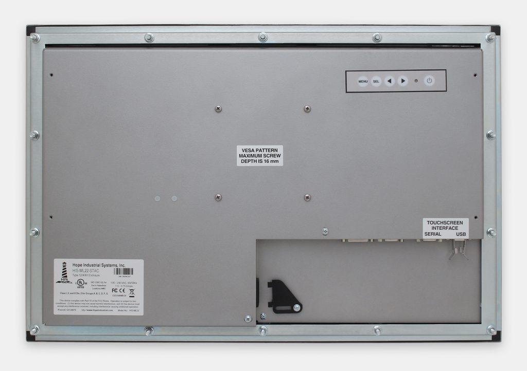 """Monitor industriali da 22"""" formato widescreen per montaggio a pannello e touchscreen rugged IP65/IP66, veduta posteriore"""