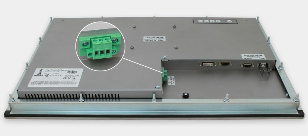 """Monitor industriali da 23"""" formato widescreen per montaggio a pannello e touchscreen rugged IP65/IP66, veduta dell'uscita cavi CC"""